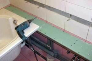 Влагостойкий ГКЛ применяется в самых различных целях, к примеру, для облагораживания ванной комнаты