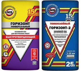 Внешний вид упаковки выравнивающих смесей Горизонт и Горизонт -2