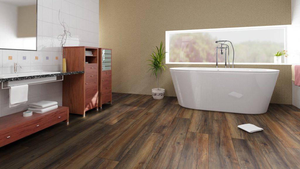 Красивый состаренный водостойкий ламинат в ванной