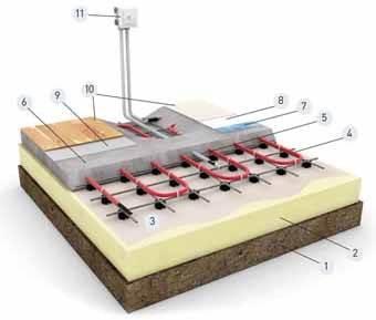 Второй вариант - Схема укладки греющего кабеля в бетонную стяжку на арматурной сетке