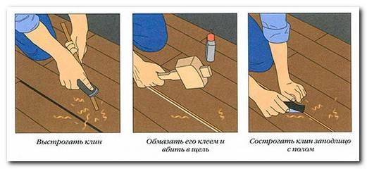 Заделка швов в деревянном полу при рассохшемся покрытии