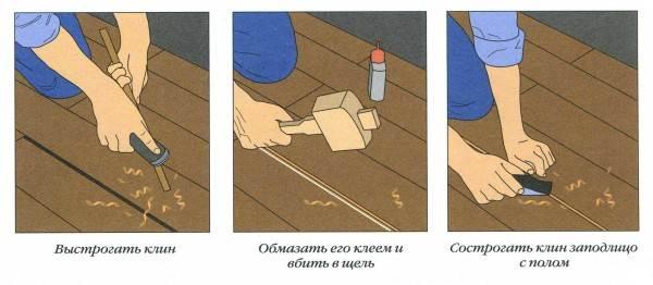Заделывание щелей в деревянном полу