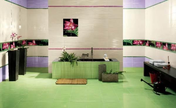 Зеленый – природный, спокойный и просто приятный цвет. Зеленая плитка на пол подойдет для помещений любого назначения.